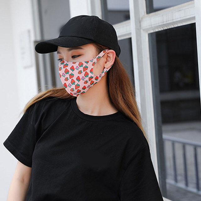 1Pc Mouth Masks Female Cartoon Face Mask Prints Cute Breathable Masks Sunscreen Face Mask Women and Men 5