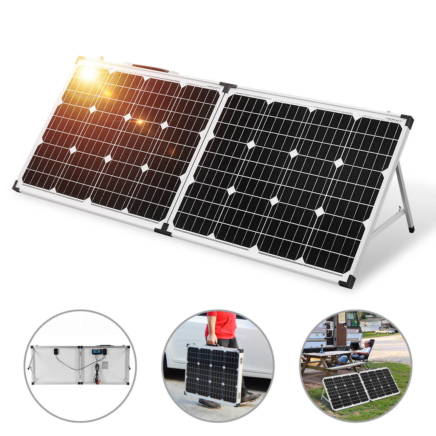 Dokio 18V 100W (2*50W) Foldable Solar Panel 12V Battery Charge Cell panel Sets With 12V/24V  Controller Syste