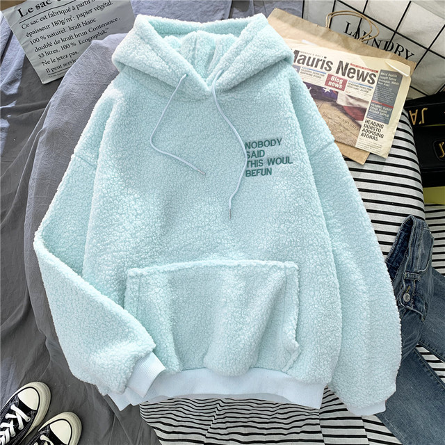 New Autumn Winter Thick Warm Coat Velvet Cashmere Women Hoody Sweatshirt Solid Blue Pullover Casual Tops Lady Loose Long Sleeve 5