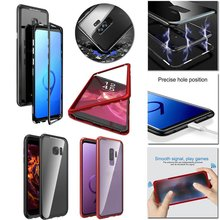 Magnetic Adsorption Flip Phone Case For Samsung Galaxy S8 S9 Plus Note 8 Mobile Cases Coque Luxury Magnet Glass Cover
