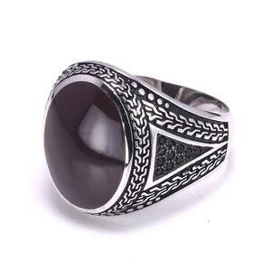 Image 5 - Anillos de plata auténtica para hombre, anillos de plata s925 Retro Vintage grandes turcos para hombres con piedras turcas de Color, joyería para hombres