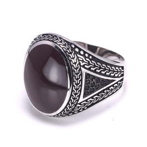 Image 5 - Real Pure Mens Rings Silver s925 Retro Vintage Big Turkish Rings For Men With Color Stones Turkish Jewellery Anel Masculino