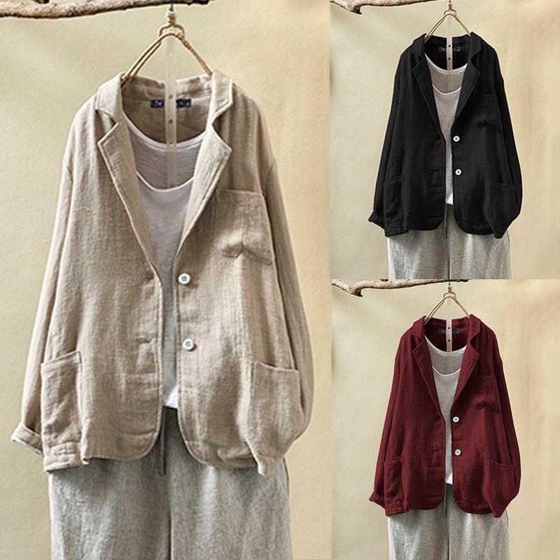 ZANZEA 2020 Vintage Business Blazers For Women Vintage Pockets Suit Blazer Coat Jackets Long Sleeve Auutmn Winter Female Outwear