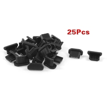 25 Pcs Anti Dust Black Soft Plastic Dock Cover mini USB Port Ear Jack