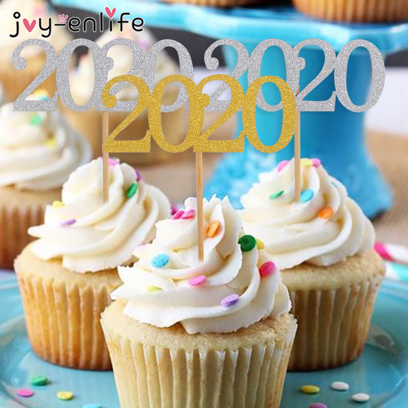 12pcs 2020 New Year Cake Toppers Happy Eve Party Decorations Glitter Cupcake Topper Navidad Noel Chinese