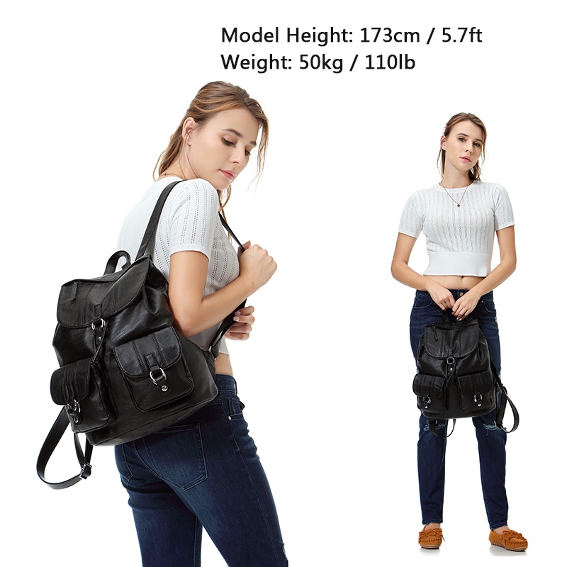 Купить с кэшбэком VASCHY Fashion Backpack Purse for Women Chic Drawstring School Bags with Two Front Pockets Soft Leather Backpack for College