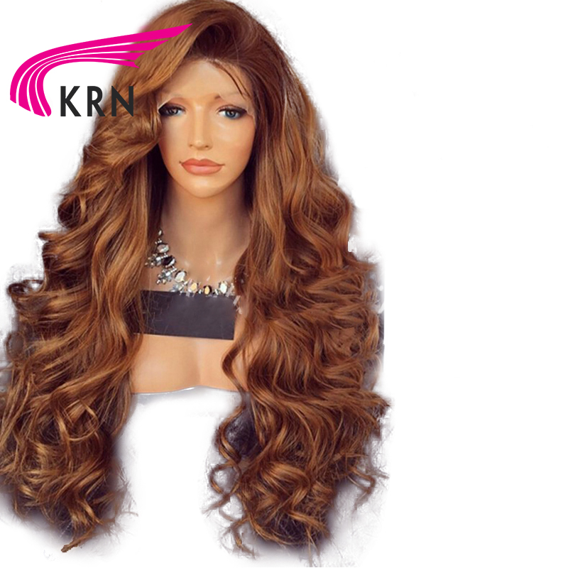 KRN 180 Density Glueless Lace Front Wigs Ombre Remy Hair Bleached Knots Pre Plucked Brazilian Human
