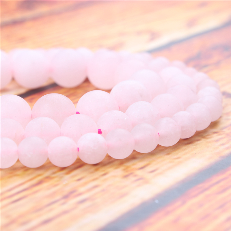 Frosted Powder Natural Stone Bead Round Loose Spaced Beads 15 Inch Strand 4/6/8/10/12mm For Jewelry Making DIY Bracelet
