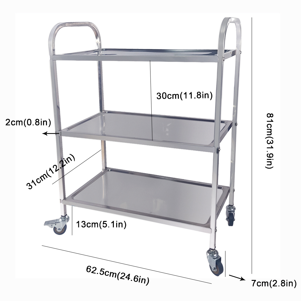 Removable Stainless Steel Trolley Cart For Catering Hotel Restaurant Wheeled 3 Tier Storage Rack Shelf Trolley With PVC Wheels
