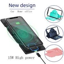 شاحن سيارة لاسلكي Qi بقدرة 15 وات ، قاعدة شحن سريعة قابلة للطي ، حامل هاتف غير قابل للانزلاق لهاتف iPhone X XS 11 Huawei