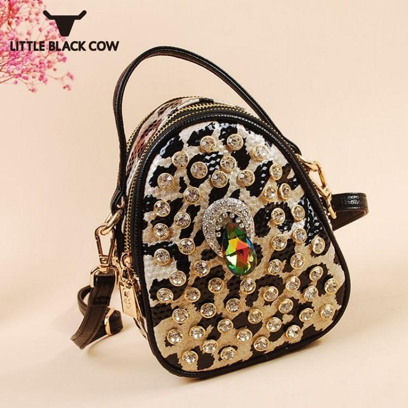 Célèbre marque diamant strass petit sac à dos femme multicolore Designer été rose Mini sacs à dos Zipper Pu sac à dos en cuir