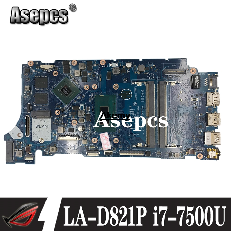 LA-D821P 09WC1G 9WC1G 05 CPRV Pour Dell INSPIRON 7460 7560 carte mère BKD40 LA-D821P REV: 1.0 (A00) i7-7500U travail D'essai 100%
