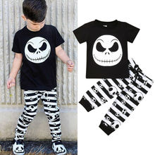 2019 Cotton Halloween Newborn Kids Baby Boy Skull Tops Short