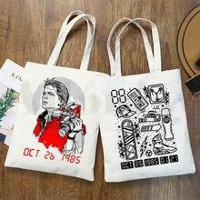 Sac à main en toile avec image Retour Vers Le Futur pour femmes, sac à bandoulière élégant pour Shopping pour filles