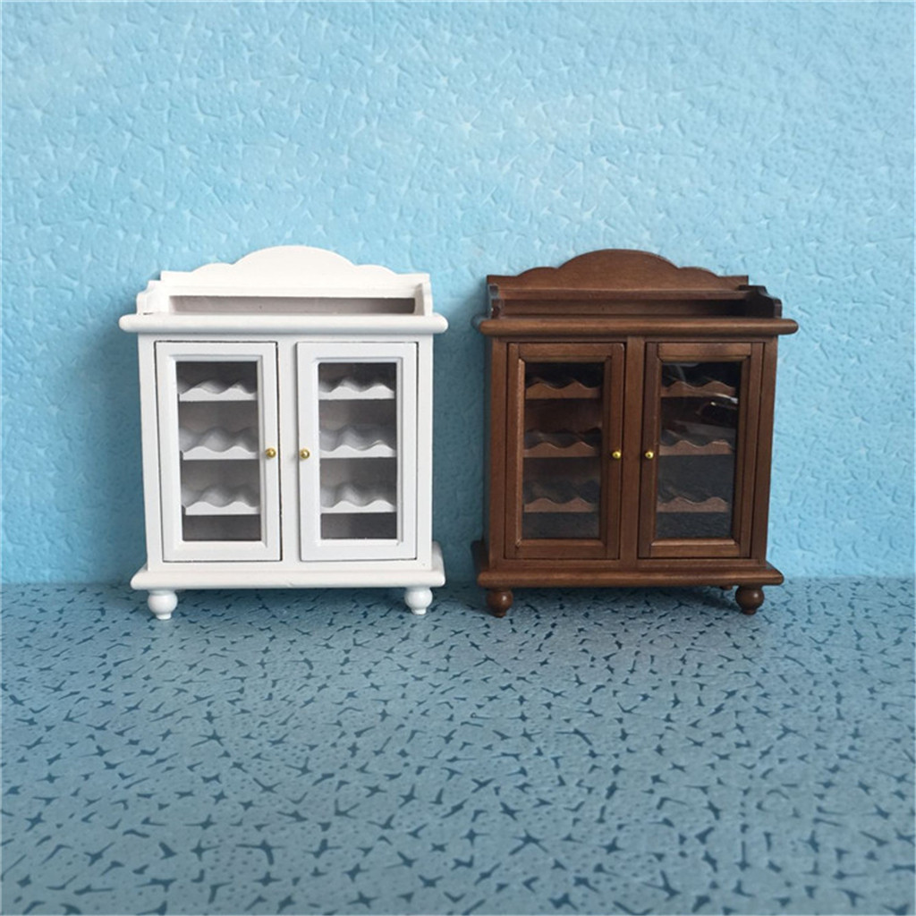 Mini Wine Cooler 1:12 Dollhouse Furniture Miniature Cupboard Cabinet Living Room Kid Pretend Toy    HOOLER
