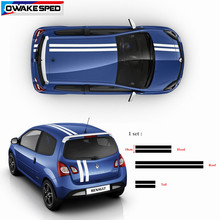 Capô do carro esporte listras para renault twingo clio 1 conjunto todo o corpo adesivos auto capô telhado cauda decoração decalques de corrida estilo
