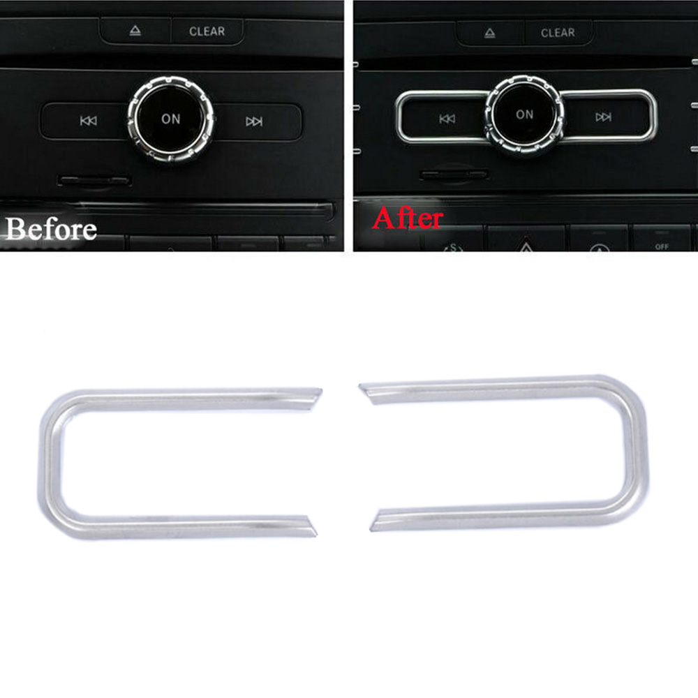 2pcs Car CD Switch Sequin Trim Cover For Mercedes-Benz CLA GLA GLE A B Class A180 W176 W212 Car Styling Accessories