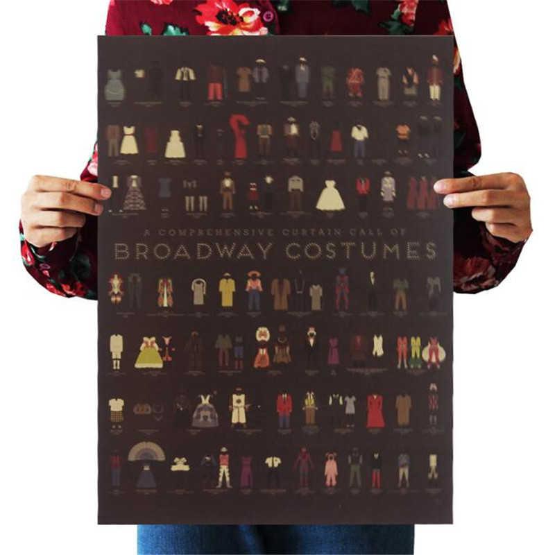 브로드 웨이 의상 빈티지 포스터 룸 장식 스티커 홈 장식 컬렉션 그림 크래프트 종이 벽 스티커 포스터