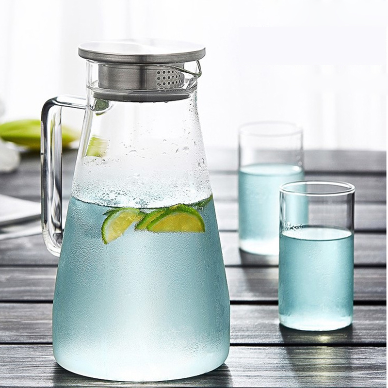 Borosilicate Glass Pitcher with Handle, Heat Resistant Water Carafe with Stainless Steel Lid, 1500ml/1800ml Teapot Kettle