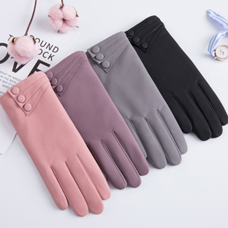 Winter Women Full Finger Gloves Female Winter Touch Screen Warm Gloves Windproof Suede Thickening Cycling Driving Mittens E73