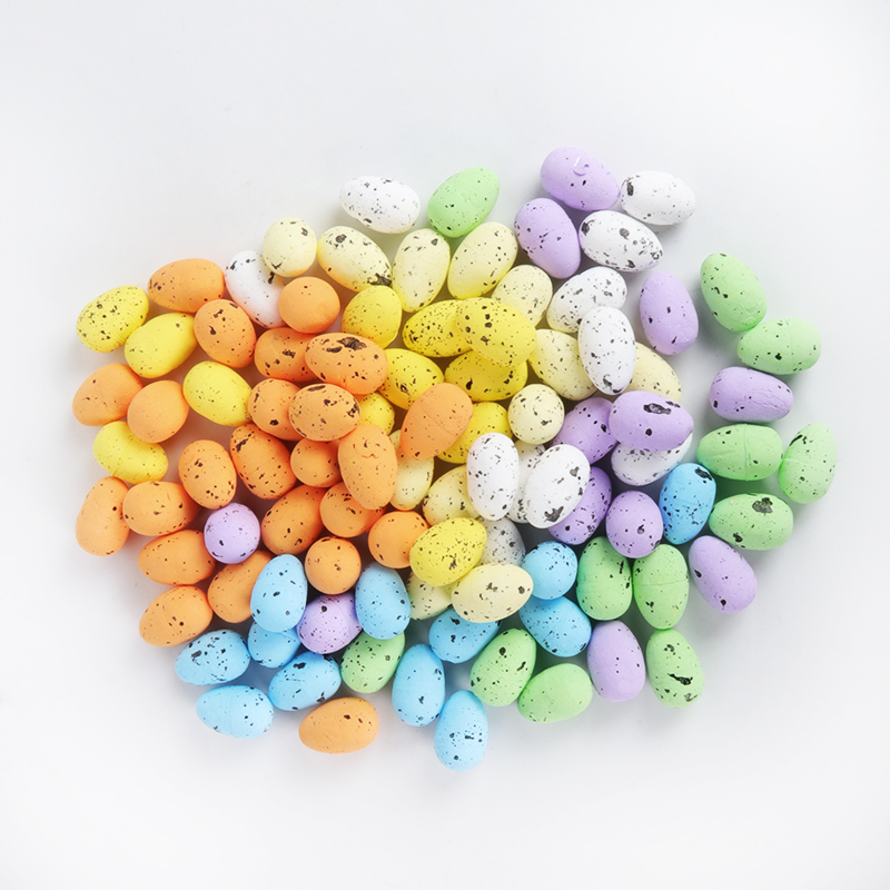 20pcs 3.3cm Painted Foam Bird Pigeon Eggs Happy Easter Decoration For Home DIY Craft Kids Gift Favor Easter Party Supplies