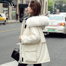 Ly Varey Lin Large Natural Fur Hooded Winter Jacket Warm Thick Women 90% White Duck Down