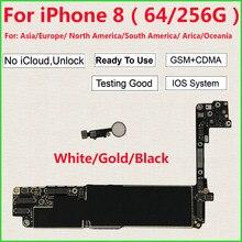 Dla iPhone 8 płyta główna 64GB 256GB z/bez Touch Id,100% oryginalny iCloud odblokowany dla iPhone 8 Logic boards
