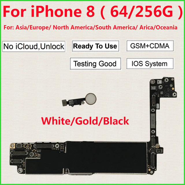 IPhone 8 için anakart 64GB 256GB ile/olmadan dokunmatik kimlik, 100% orijinal iCloud Unlocked iPhone 8 için mantık panoları