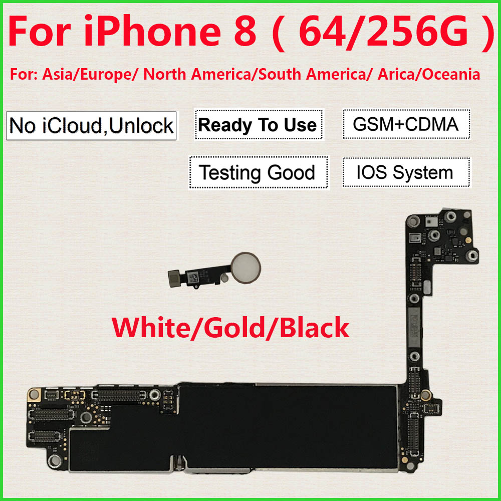 Galleria fotografica for iPhone 8 Motherboard 64GB 256GB With/Without Home Button,100% Original Unlocked for iPhone 8 Logic boards