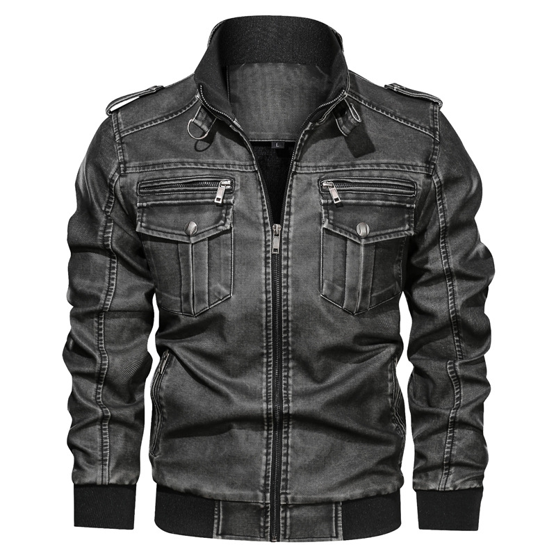 Men's PU Jacket Leather Coat Autumn Slim Fit Faux Leather Motorcycle Jackets Male Coats Fashion Male Outwear Large Size L-6XL