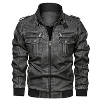 Men's PU Jacket Leather Coat Autumn Slim Fit Faux Leather Motorcycle Jackets Male Coats Fashion Male Outwear Large Size L 6XL