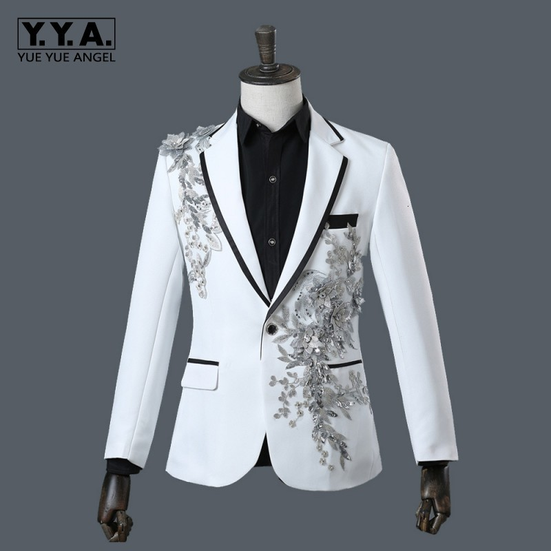 Latest Design Mens Formal Sequins Floral Embroidery Wedding Suits Slim Fit White Blazer Pants Set Show Costumes Homme Groom Suit