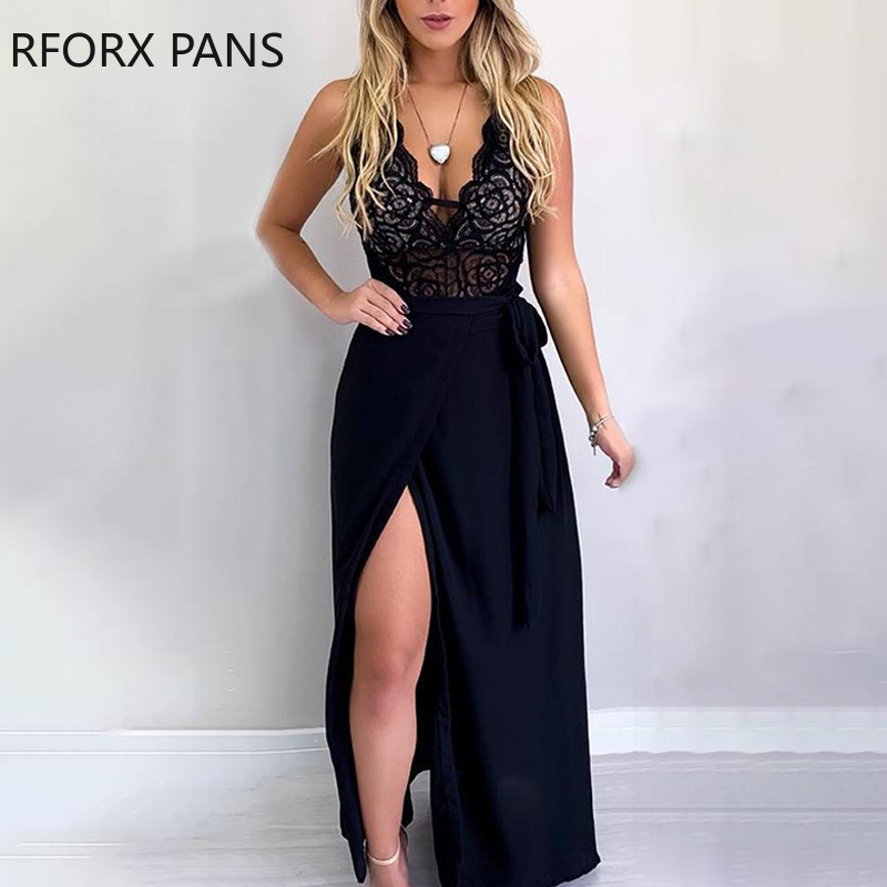 Spaghetti Strap Lace Insert Slit Two Pieces Maxi Dress Party Look Women Dress