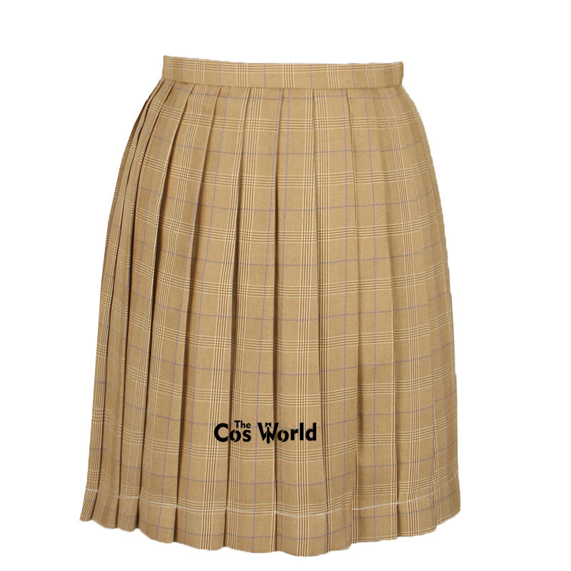 [Yellow] Girl's Summer High Waist Pleated Skirts Plaid Skirts Women Dress For JK School Uniform Students Cloths