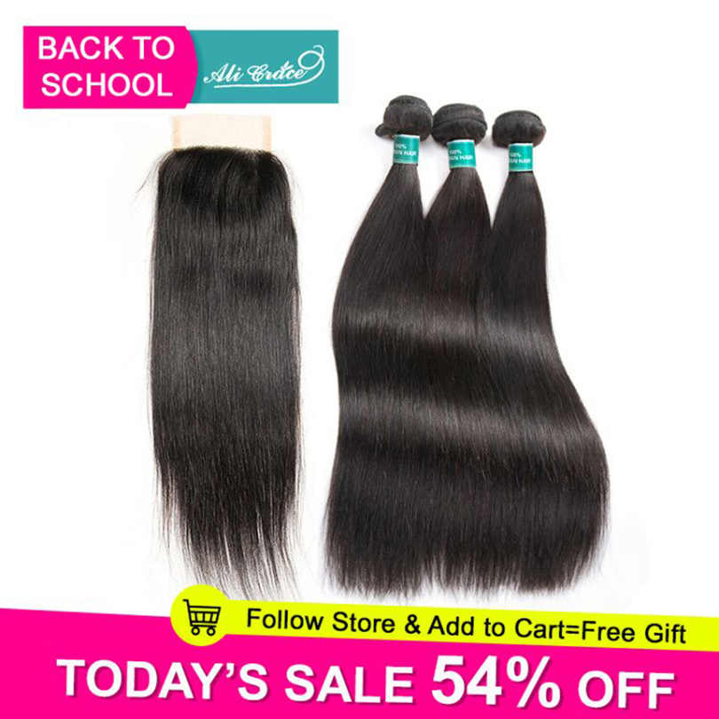 Ali Grace Hair Brazilian Straight Hair Bundles With Closure 4 4 Middle Free Part 2 Option