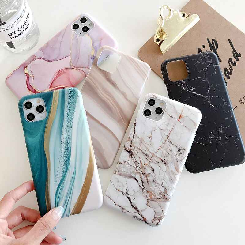 LOVECOM 빈티지 점진적 색상 대리석 전화 케이스 아이폰 11 프로 맥스 XR XS 맥스 6 6S 7 8 플러스 X 매트 소프트 IMD 백 커버 Coque