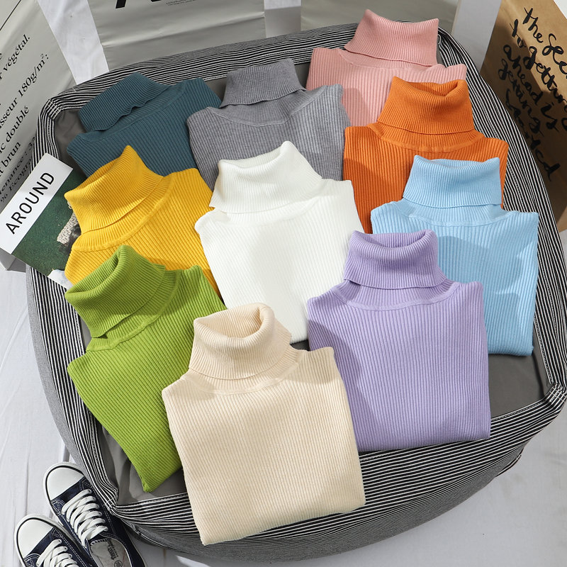 Heliar 2021 Spring Women Turtleneck Sweater Long Sleeve Casual Knitted Pullovers Thick Jumpers Underwear Sweaters For Women