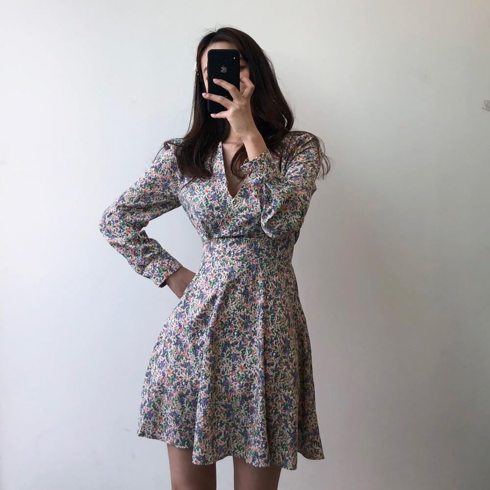 H1bba02ecc2ca48c9a82b02f6e38df39b5 - Autumn V-Neck Long Sleeves Floral Print Mini Dress