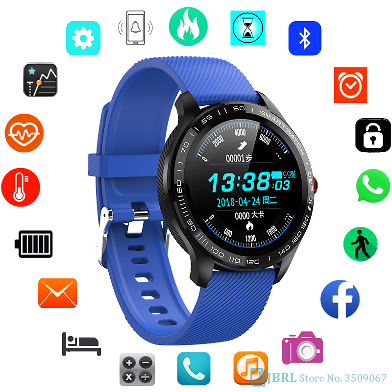 ECG Fashion Digital Watch Men Women Full Round Multi-Touchable Wristwatch IP68 Sport Watches for Men Bluetooth Reminder/ Music