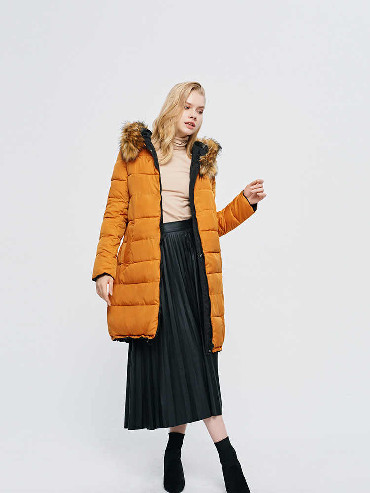 2019 韓国女性の冬両面ロングダウンジャケットファッションフード付きビッグ毛皮の襟ルース大サイズ綿パンジャケットコート