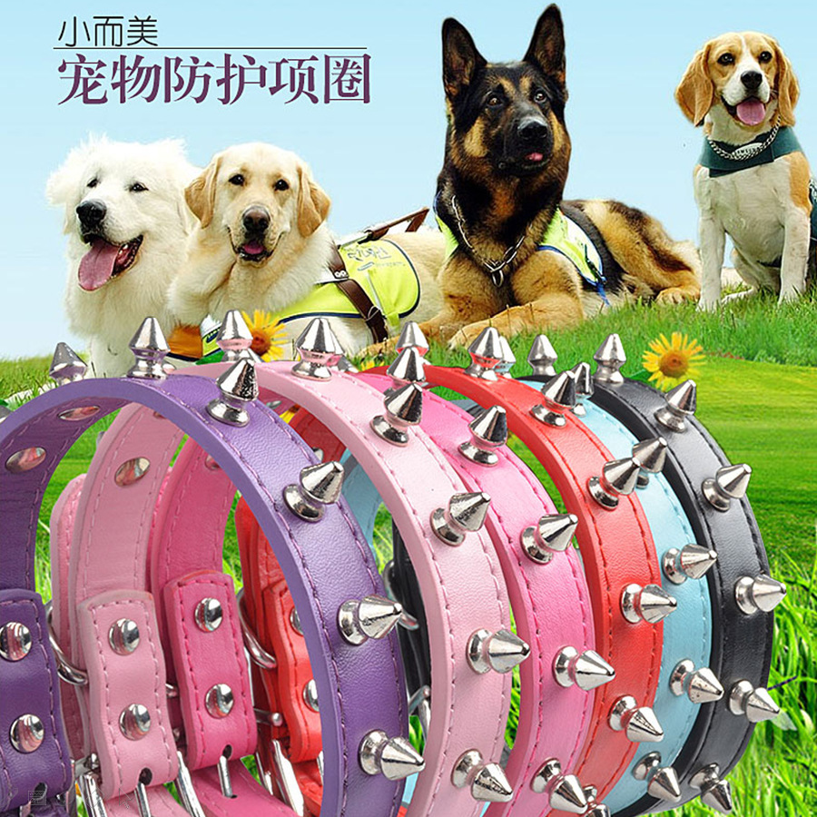 Pet Dog Cat Single Row Rivet Neck Bandana Large And Medium Small Dogs Durable Anti-Bite Genuine Leather Neck Ring Pet Supplies