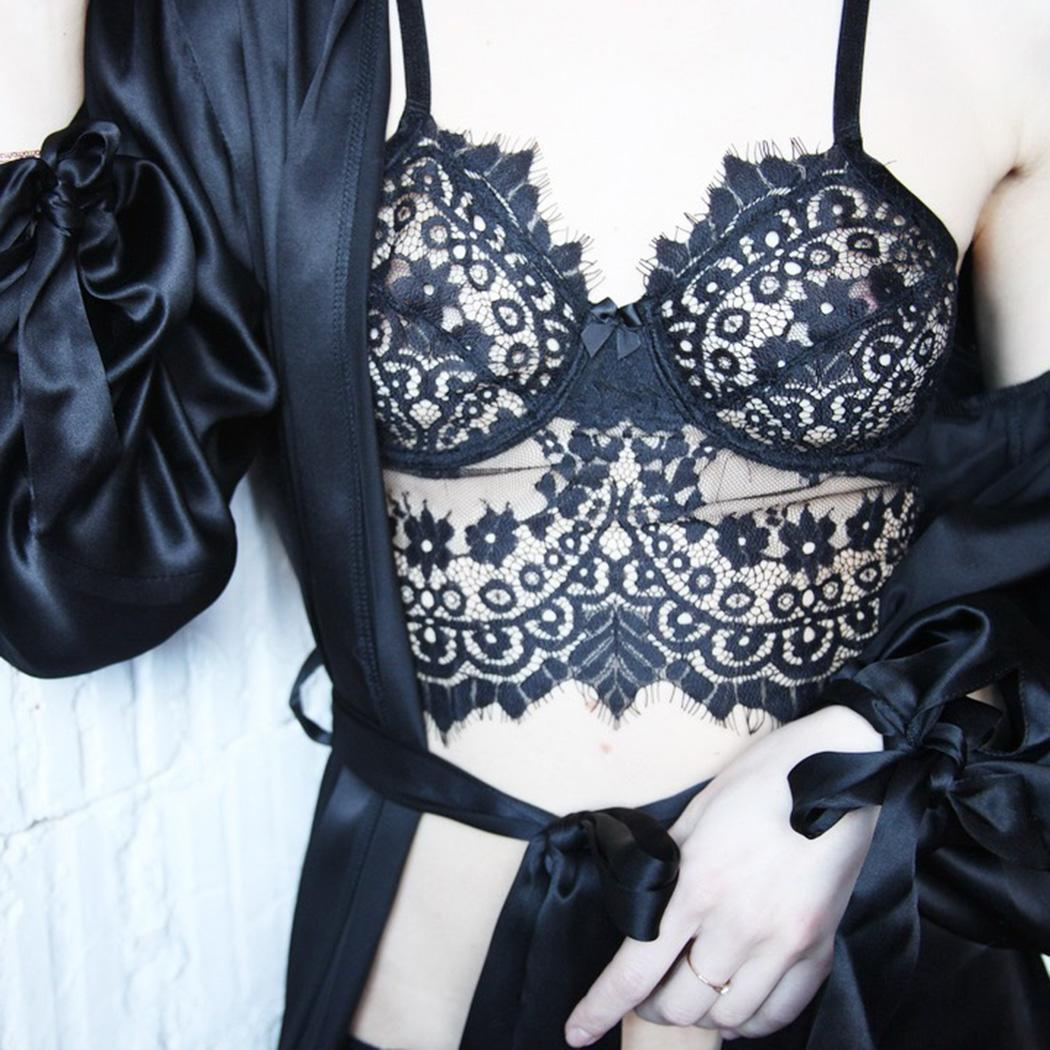 Women Sexy Lingerie Deep V-neck Ultra-thin Perspective Floral Bra