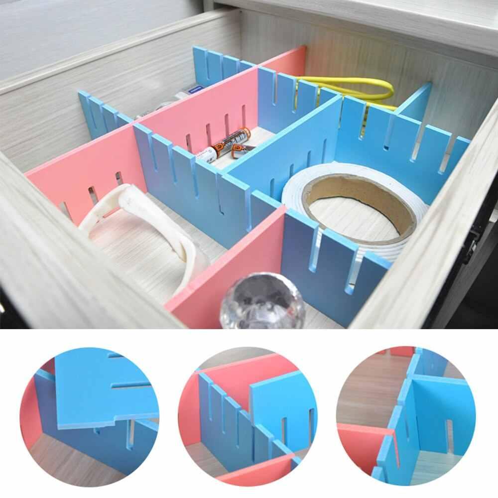 1 pc 조정 가능한 서랍 조직자 가정 부엌 널 분배기 메이크업 저장 격자 diy 격자 서랍 분배기 내각 저장 조직자