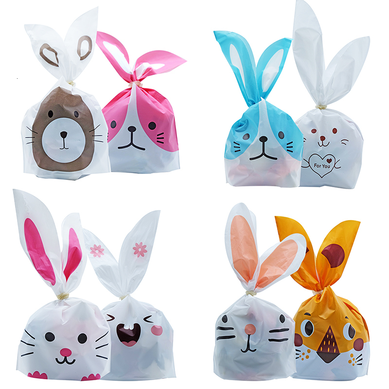 50pcs/lot Cute Rabbit Ear Bags Cookie Plastic Bags&Candy Gift Bags For Biscuits Snack Baking Package And Event Party Supplies|bag for|bags for biscuits|bags cookies - title=