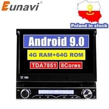 Eunavi 4グラムram 1ディンアンドロイド9.0オクタ8 dvdプレーヤーgpsナビゲーションステレオラジオwifi MP3オーディオusb swc