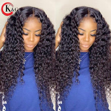 KUNGANG 13*6 Lace Wigs Natural Curly T-part Human Hair Wigs Brazilian Front Wigs 150% Density With Baby Hair Non-Remy