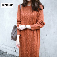 Autumn Winter Elegant Casual Women Twist Long Sweater Solid Color O Neck Long Sleeve Loose Thin Female Sweater Dress