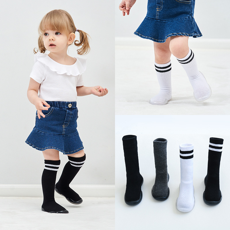 High Tube Children Soft Rubber Soles Toddler Shoes Baby Girl Cotton Floor Socks
