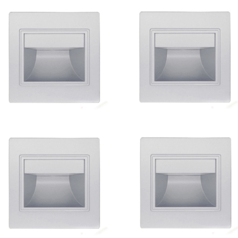 4Pcs Stair Light Led 3W LED Recessed Wall Light Footlight Step Lamps Indoor Background Lighting Nightlight Stairway Corridor wit|Wall Lamps| |  - title=