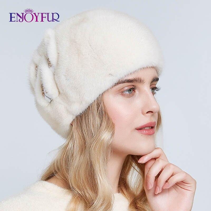 ENJOYFUR Hele nertsen bont baretten hoeden voor vrouwen winter warm mode bont caps effen kleur baret met bloem